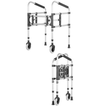 Movable walker with a diagonal grip with 2 wheels